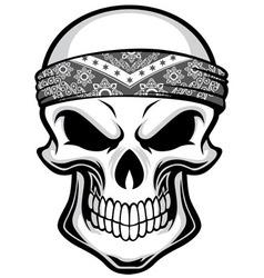 skull wearing bandana vector image