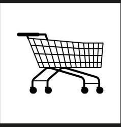 supermarket shopping empty cart isolated on white vector image