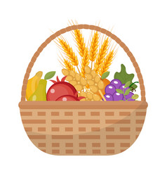vegetables and fruit in a wicker basket icon of a vector image vector image