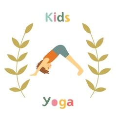 Cute yoga kids card with little boy doing yoga vector image vector image