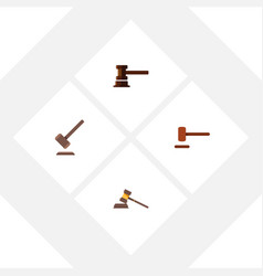 flat icon hammer set of court government building vector image