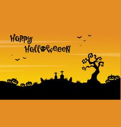 happy halloween beauty scenery silhouette vector image