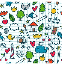 Seamless pattern with cute little drawings in the vector image