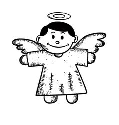 cartoon angel doodle vector image