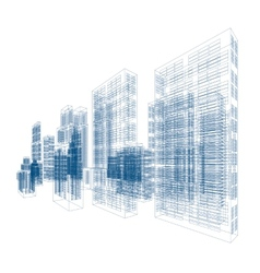 Drawings of skyscrapers and homes vector image vector image