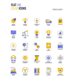 Flat line multicolor icons design-power and energy vector