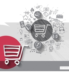 Hand drawn shopping cart icons with icons vector