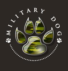 military dog paw print vector image vector image