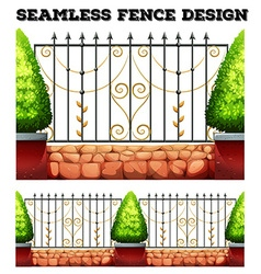 Seamless metal fence design with bushes vector