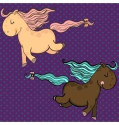 Cute cartoon horses vector image vector image