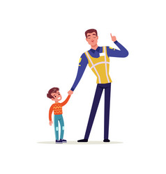 officer of traffic police in uniform with high vector image