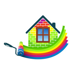 paint roller home design vector image vector image