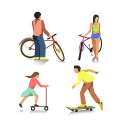 people on bike boy on skateboard girl on scooter vector image vector image