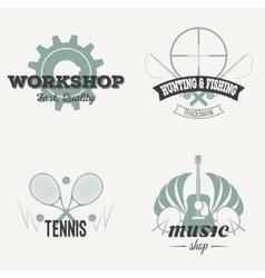 Set of retro labels vintage design vector image