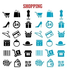 Shopping and commerce flat icons set vector image