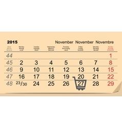 27 November 2015 Black Friday Sale Calendar vector image