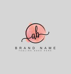 Ab handwritten initial letter logo - signature vector