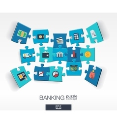 Abstract banking background with connected color vector image