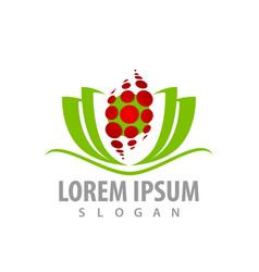 abstract green lotus flower logo concept design vector image