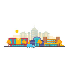 autumn city with buildings mall cinema school vector image