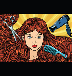barber concept the girl with long hair vector image