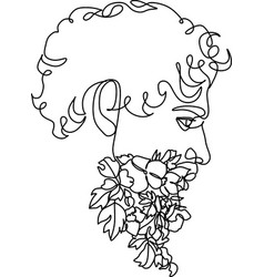 bearded hipster man coloring book page for adult vector image