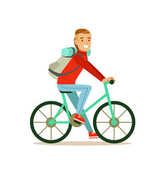 Bicyclist traveler with backpack riding a bike vector