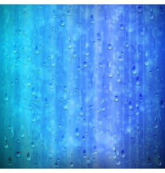 Blue rainy window background with drops and blur vector image