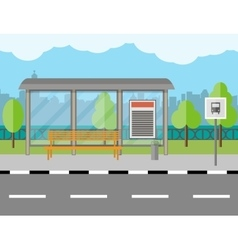Bus Stop with bench and city background vector