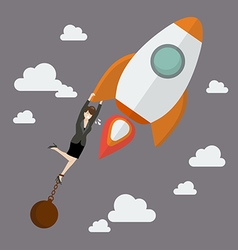 Business woman try hard to hold on a rocket with vector image