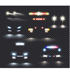 Car lights transparent set vector