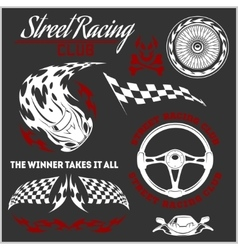 Car racing badges and elements Graphic design for vector