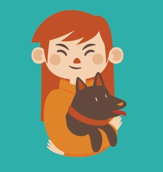 Cartoon Girl Holding her Pet Dog vector image