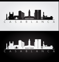 casablanca skyline and landmarks silhouette vector image