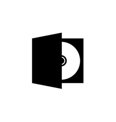 Cd dvd disc in box flat icon vector