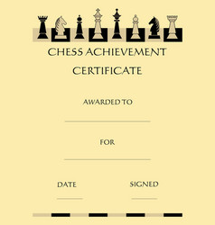 Chess achievement certificate with complet set vector