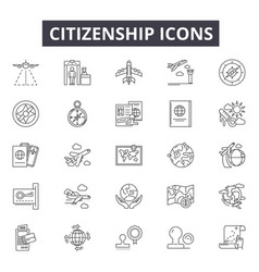 citizenship line icons for web and mobile design vector image