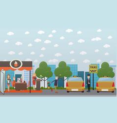 City street with cafe and taxi stand flat vector