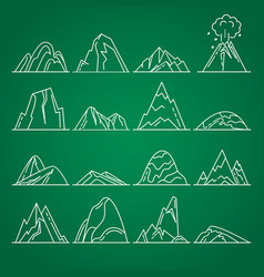 Collection of mountain icons in thin line style vector
