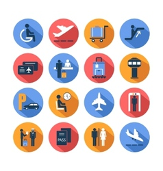 Colored airport icons set vector