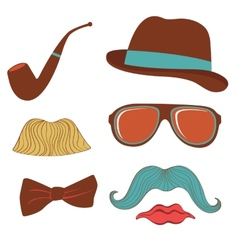 Colorful mustache party elements collection vector
