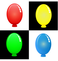 colorful oval balloons with shadows vector image