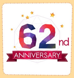 Colorful polygonal anniversary logo 2 062 vector