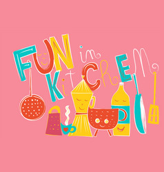 composition of fun object in kitchen isolated on vector image