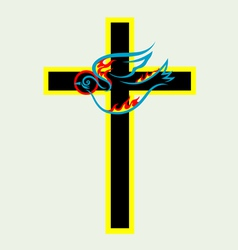 Cross n dove Holy spirit vector image