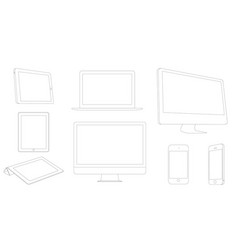 digital devices outline modern laptop tablet vector image