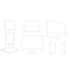 Digital devices outline modern laptop tablet vector