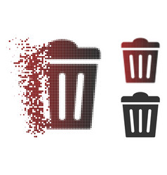 disintegrating pixelated halftone trash can icon vector image