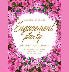 engagement party invitation with pink flower frame vector image