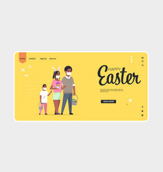 family holding baskets with eggs celebrating happy vector image